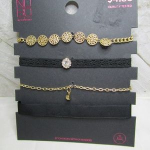 5/$15 - Set of Four Black and Gold Chokers